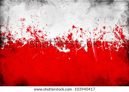Grunge Polish flag, image is overlaying a detailed grungy texture - stock photo