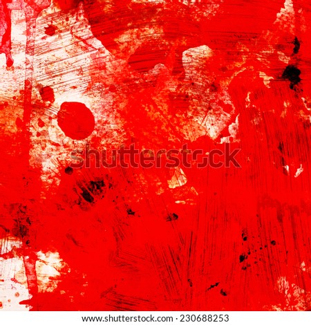 grunge red background with splashes, square format - stock photo