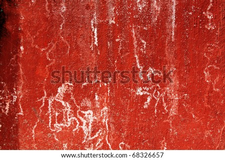 grunge red wall background - stock photo