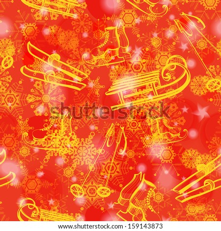 Grunge red winter seamless pattern with snowflakes and hand drawn ski, sledge, skating shoes. Raster version - stock photo