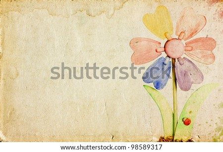 Grunge retro background with colorful flower and copy space - stock photo