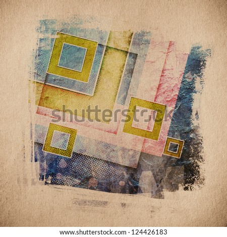 grunge retro paper texture, abstract squares background - stock photo