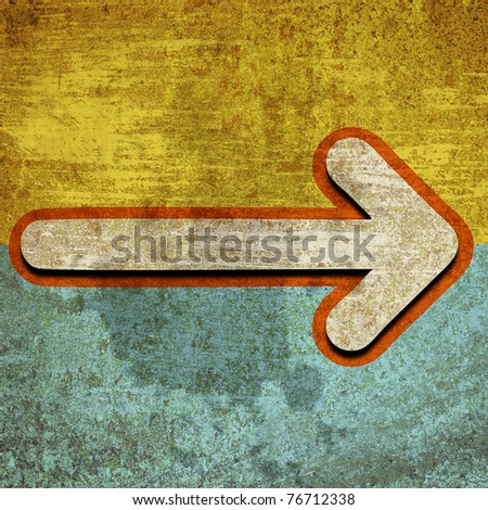 grunge retro vintage rusty old paper background with arrow - stock photo