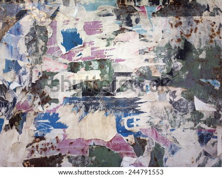 Grunge ripped poster - stock photo