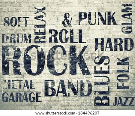 Grunge rock poster on brick wall background - stock photo
