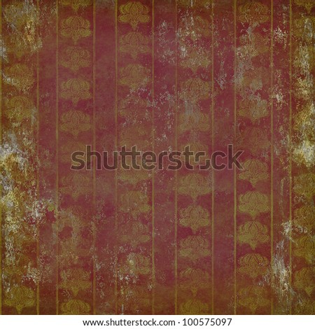 Grunge ruined wallpaper with vintage floral pattern gold on purple - stock photo