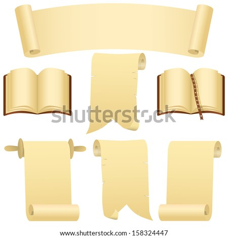 Grunge scrolls, books and banner  - stock photo