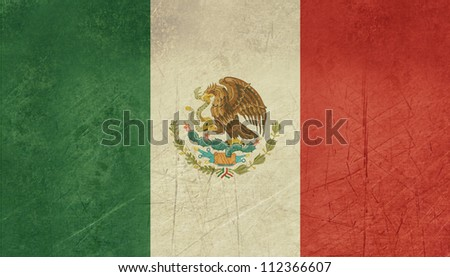 Grunge sovereign state flag of country of Mexico in official colors. - stock photo