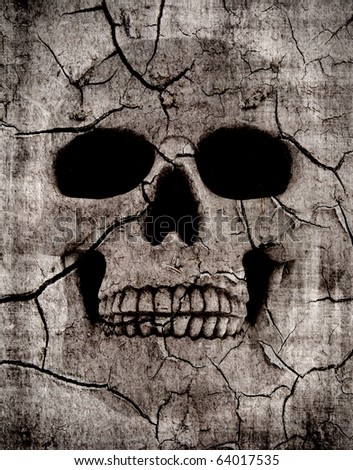Grunge spooky skull background with various cracks - stock photo