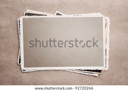 Grunge stack of photos with clipping path - stock photo