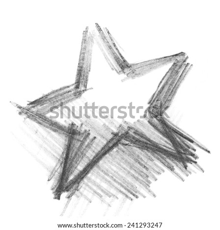 grunge star graphite pencil texture isolated on white background - stock photo