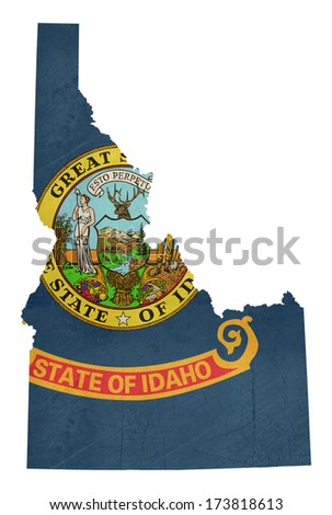 Grunge state of Idaho flag map isolated on a white background, U.S.A.  - stock photo