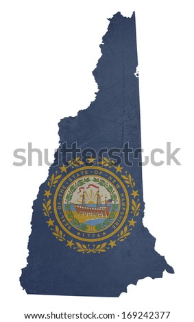 Grunge state of New Hampshire flag map isolated on a white background, U.S.A.  - stock photo