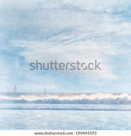 Grunge style beach background - stock photo