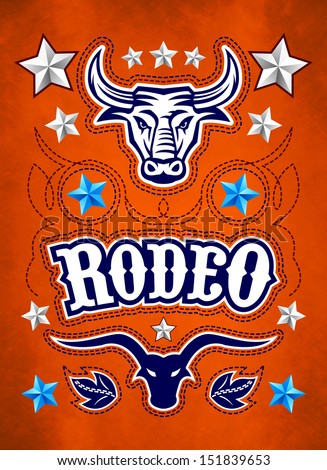 Grunge style Rodeo Championship poster with longhorn and stitch - stock photo