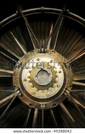 grunge style section of supersonic jet engine afterburner - this one is from concorde - stock photo
