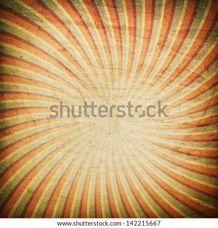 Grunge swirl rays retro background - stock photo