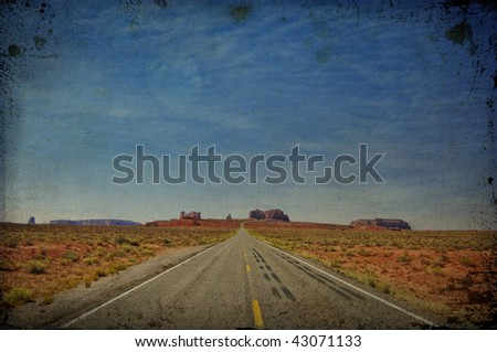 grunge texture  monument valley in utah, interstate 163, usa - stock photo