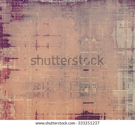 Grunge texture with decorative elements and different color patterns: brown; purple (violet); gray; pink - stock photo