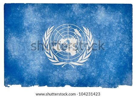 Grunge textured flag of the United Nations on vintage paper - stock photo