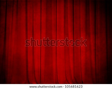 grunge theater red curtain background - stock photo