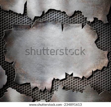 grunge torn metal plate as steam punk background - stock photo