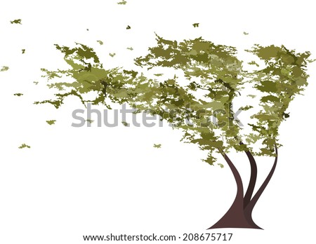Grunge tree in the wind. Raster version - stock photo