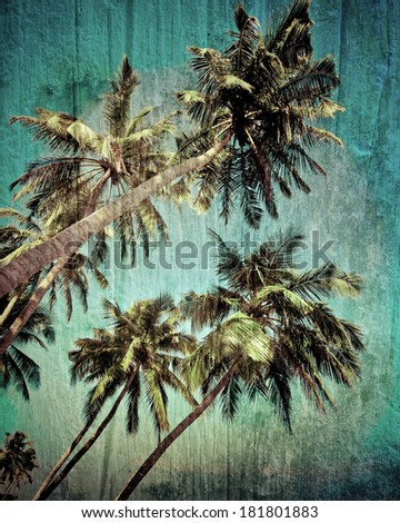 Grunge tropical background with coconut palm trees. Image in vintage style - stock photo