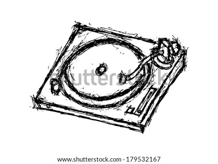 grunge turntable - stock photo