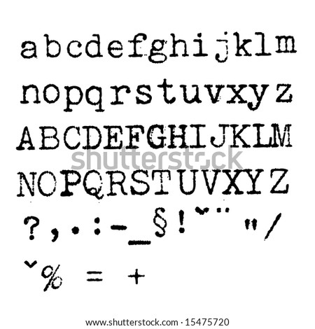 Grunge typewriter font - letters, numbers, characters - stock photo