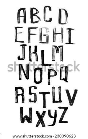Grunge uneven handwritten paint alphabet, vintage calligraphy, stamp style font, capital letters - stock photo
