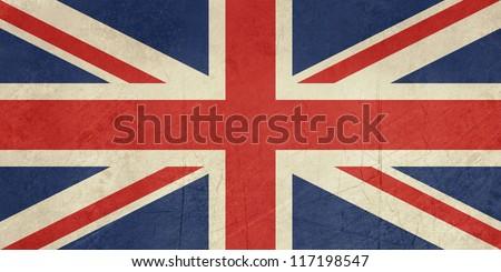 Grunge United Kingdom Flag or Great Britain Union Jack. - stock photo