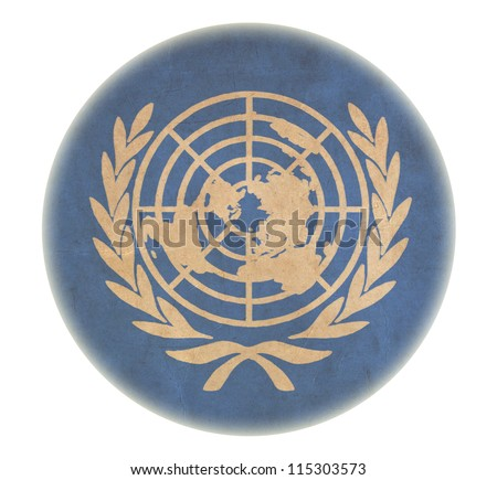 grunge United Nations flag drawing button - stock photo