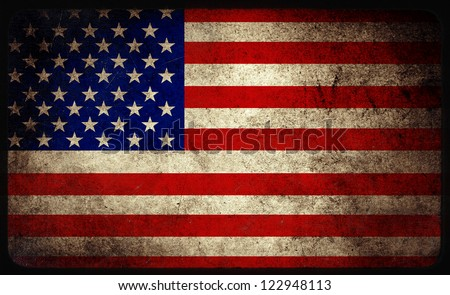 Grunge USA flag background - stock photo