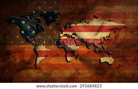 grunge USA map and flag - stock photo