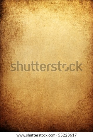 Grunge vintage background with ornamental frame. Space for text or image. - stock photo