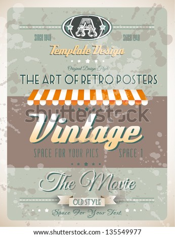 Grunge Vintage retro page template for a variety of purposes: website home page, old style flyers, book covers or vintage posters. Editable liquid drops. - stock photo