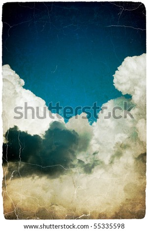 Grunge vintage vertical sky with space for text. Isolated on white. - stock photo