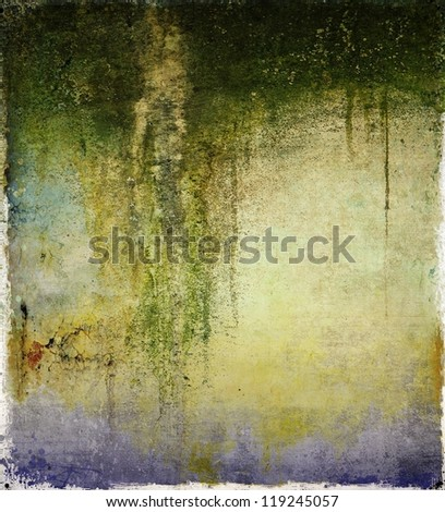 Grunge wall background with dripping moss - stock photo