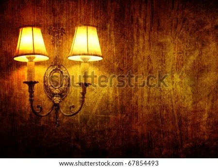grunge wall lamp - stock photo