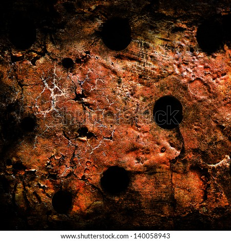Grunge wall with bullet holes - stock photo