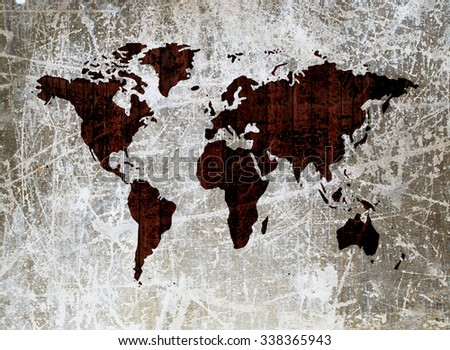 grunge wooden wall in shape of world map - stock photo