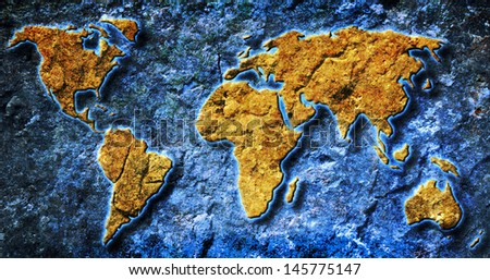 grunge world map texture and background  - stock photo