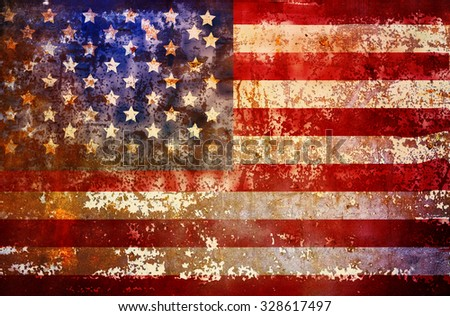 grungy american flag, fictional design - stock photo
