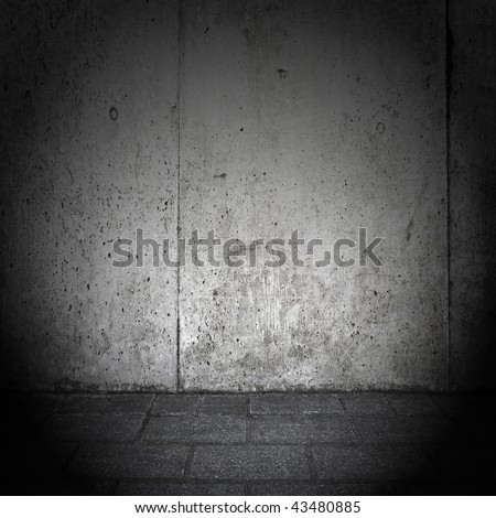 Grungy and gloomy wall - stock photo
