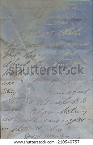 Grungy artistic, metallic background with hand written text - stock photo