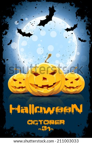 Grungy Background for Halloween Party with Pumpkins and Bats - stock photo