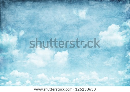 Grungy background of blue sky. - stock photo