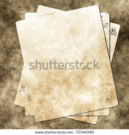 Grungy Background.old paper with skull - stock photo