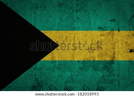 Grungy Bahamas Flag on old paper - stock photo